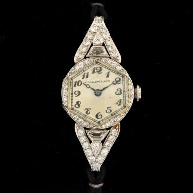 Art Deco Platinum and Diamond Watch, J.E. Caldwell & Co.