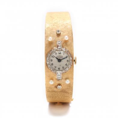 Vintage 14KT Gold, Platinum, Diamond, and Pearl Bracelet Watch, Lucien Picard
