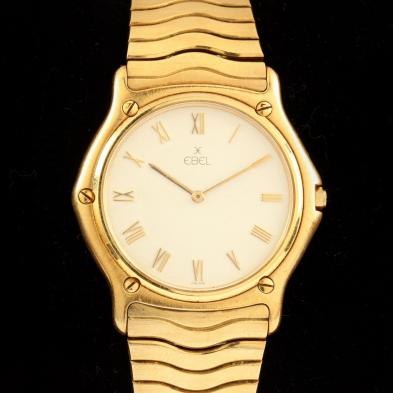 Gent's 18KT Gold Classic Wave Watch, Ebel