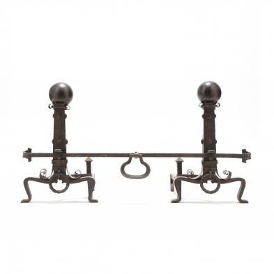 Pair of Arts and Crafts Fireplace Large Andirons