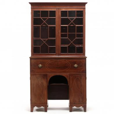 Federal Inlaid Butler's Secretary Bookcase