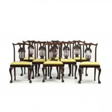 Gregory & Co., Set of Eight Chippendale Style Dining Chairs