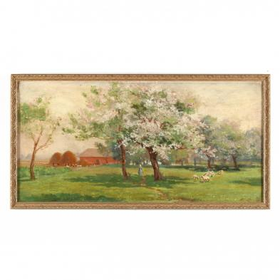 Manchus Loomis (IL/CA, 1861-1938), Spring Landscape with Sheep