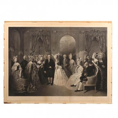 William O. Geller (Br., 1804-1881) after Baron Jolly, A Rare Artist's Proof of Franklin's Reception at the Court of France, 1778