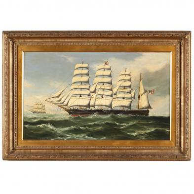 An Antique American School Maritime Painting