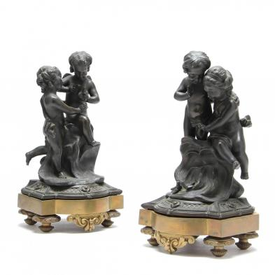 Pair of French Classical Bronze Garnitures
