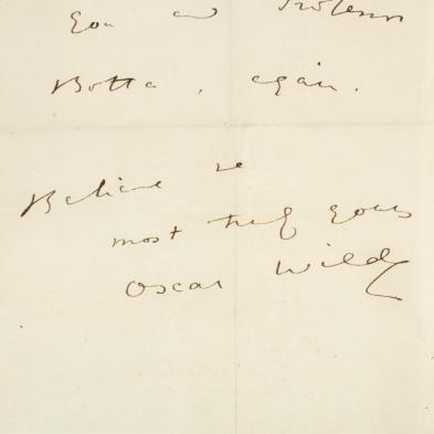 Oscar Wilde Autograph Letter Signed During His 1882 American Lecture Tour
