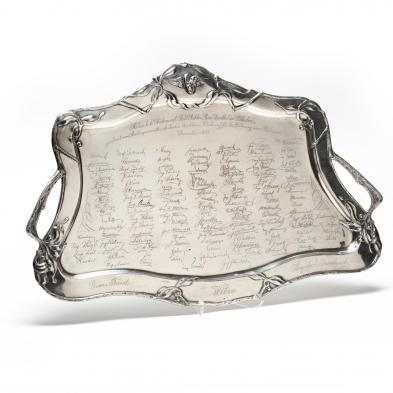 A Jugendstil Silver Tray Commemorating the Austrian Southern Railway