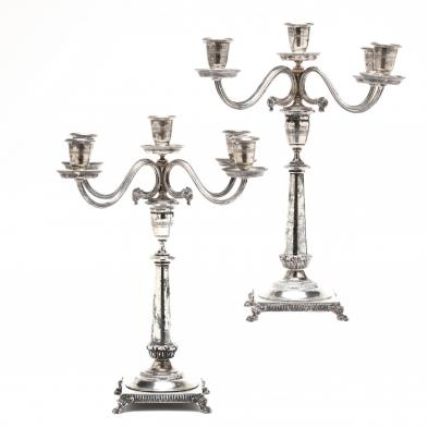 A Pair of Italian Neoclassical Style Silver Candelabra