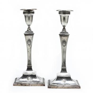A Pair of Edwardian Silver Candlesticks