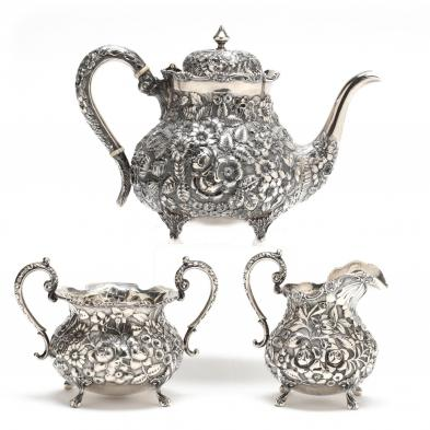 An Assembled Baltimore Repousse Sterling Silver Tea Set