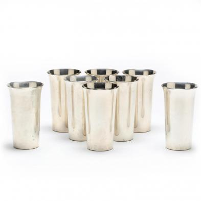 A Set of Eight Sterling Silver Tumblers by International
