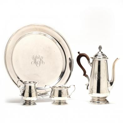 A Sterling Silver Coffee Service with Tray