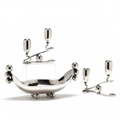A Three Piece Modernist Sterling Silver Table Garniture
