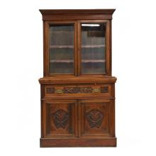 Antique Continental Carved Walnut Butlers Bookcase