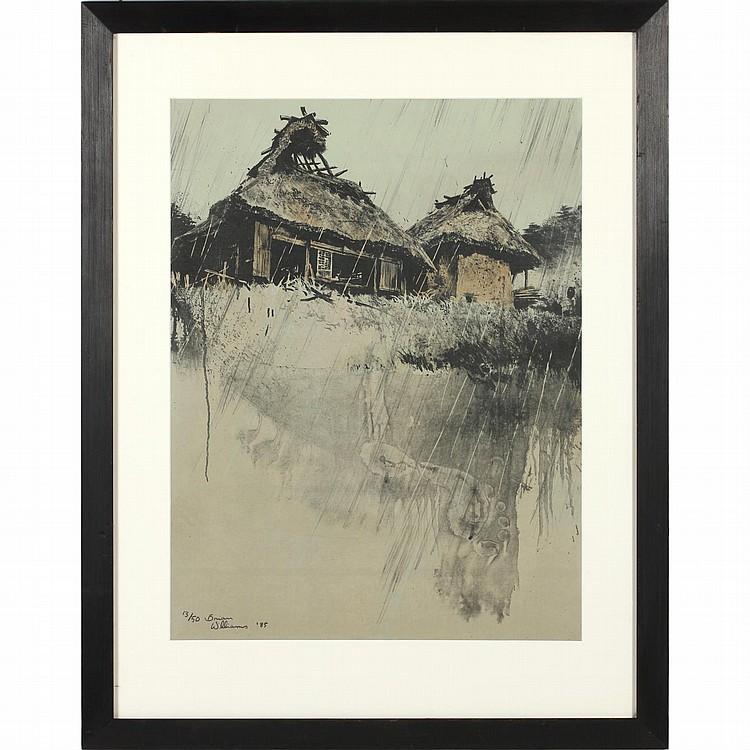 Brian Williams (b. 1950), Farm House in Rain