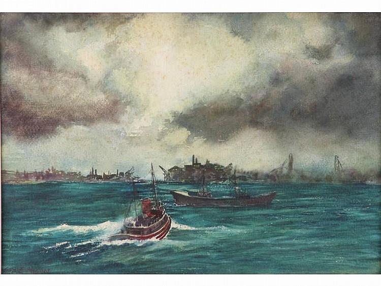 George E. Haynes (VA, 1910 - 1995), Tug in Storm,