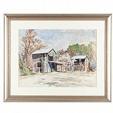 Sarah Blakeslee (NC, 1912-2005), Tobacco Barns and Peach Tree