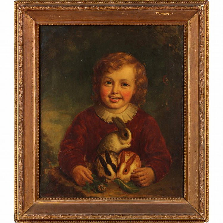 Alexander Keith (Scottish, fl. 1836-1874), Portrait of a Young Boy with Rabbits