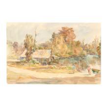 Sarah Blakeslee (NC, 1912-2005), Landscape with Figures