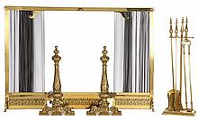 Three Piece Brass Fireplace Set