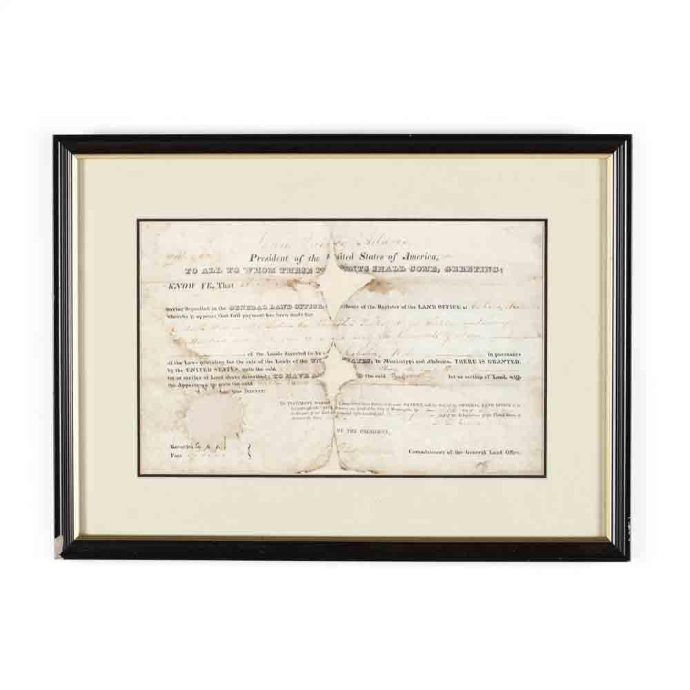 John Quincy Adams Signed Alabama Land Grant