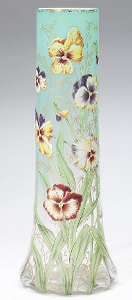 Mont Joye Tall Enamel Decorated Glass Vase
