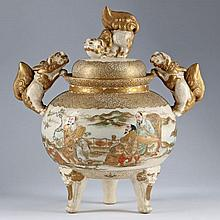 Japanese Satsuma Urn with Cover