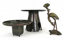 Japanese Bronze Ikebana and Candlestick