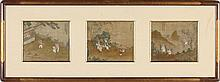 Chinese Silk Triptych Painting