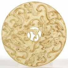 Large Chinese Archaic-Style Chilong Bi Disc