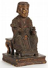 Chinese Carved Wooden Figure of an Official