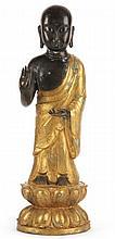 Chinese Parcel Gilt Bronze Buddhist Monk