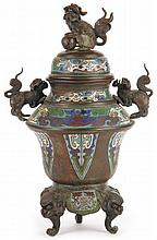 Chinese Bronze and Cloisonne Lidded Urn