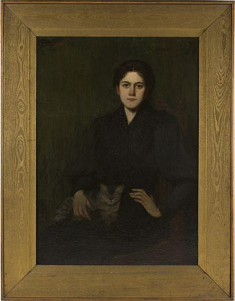 George Hughes (NY, 1863-1932), Woman with Cat,