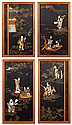 Four Antique Chinese Hardstone Inlaid Panels