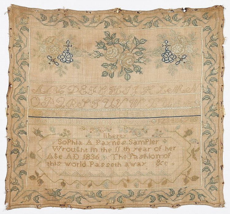 American Needlework Sampler, 1836