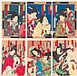 Two Meiji Period Japanese Woodblock Triptychs