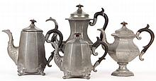 Assembled Four Piece Reed & Barton Pewter Tea Pots