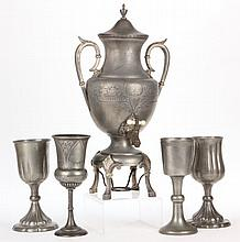 Meriden Co. Pewter Coffee Urn and Four Chalices
