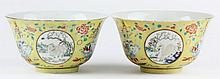 Pair Chinese Porcelain Famille Rose Footed Bowls
