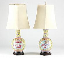 Pair of Famille Rose Yellow Ground Table Lamps