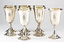 Set of Eight International Sterling Silver Goblets