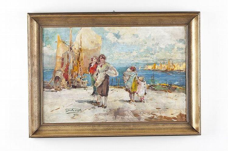 Giuseppe Solenghi (It., 1879-1944), Harbor Scene