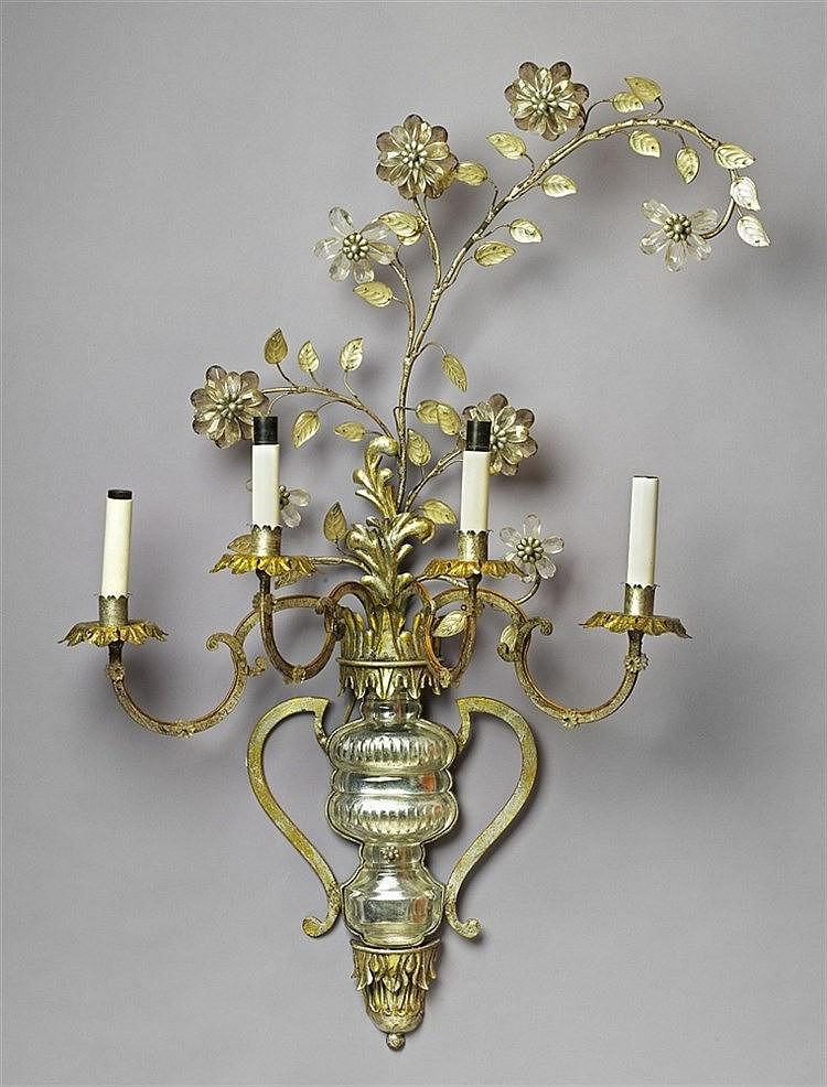 a parisian art d co four flame applique formed as a flower v. Black Bedroom Furniture Sets. Home Design Ideas