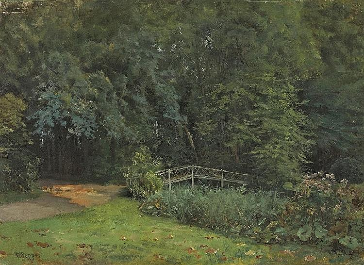 Fedor Poppe,   The Schlosspark In Charlottenburg ,   Oil on canvas,   mounted on cardboard,   33 x 46 cm