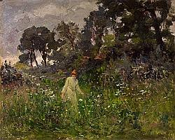 Auguste Michel Nobillet, Landscape with Young Woman, Oil on panel, 32 x 40 cm