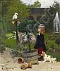 *Julius Kronberg,   The New Playfellow,   Oil on canvas,   47 x 39,5 cm, Julius Kronberg, Click for value