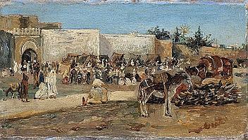 José Gallegos Y Arnosa, Tanger. El Zoco Grande, Oil on panel, 10 x 17,5 cm