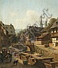 Albert Schwendy,   City Moat In Goslar,   Oil on canvas,   33 x 28,5 cm, Albert Schwendy, Click for value